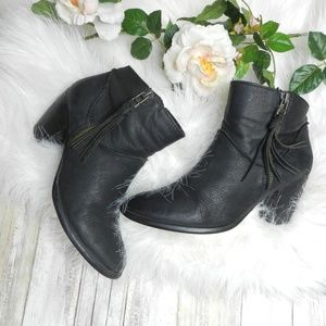 Steve Madden Black leather heeled booties womens